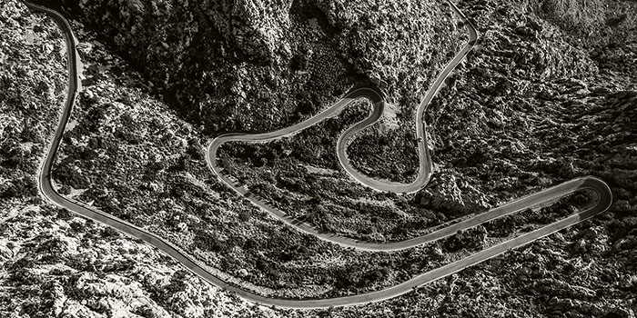 Aerial photograph of road with hairpins